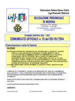 COMUNICATO UFFICIALE n. 13 del 09/10/2014