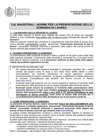 CdL MAGISTRALI - NORME PER LA PRESENTAZIONE DELLA