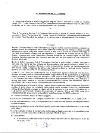 CONVENZIONE FIDAL - ENDAS La Federazione ltaliana di Atletica