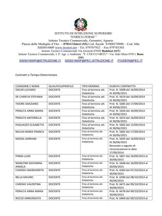 Contratti a tempo determinato A. S. 2014-2015
