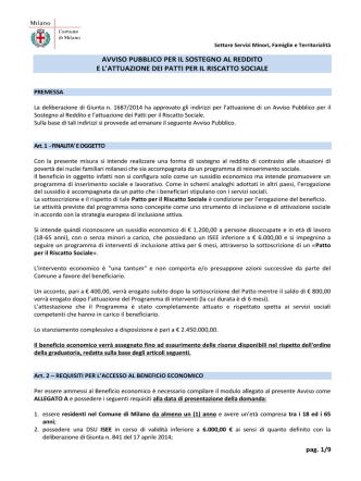 AVVISO PATTO INCLUSIONE