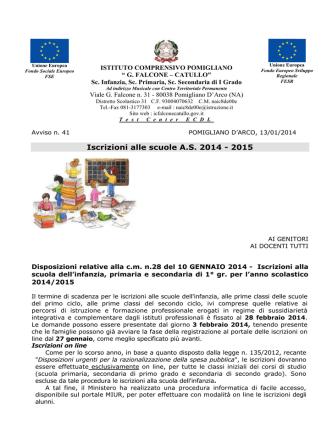 """circolare interna - Istituto Comprensivo Pomigliano """" G. FALCONE"""