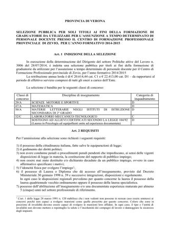 Bando insegnanti CFP - Provincia di Verona