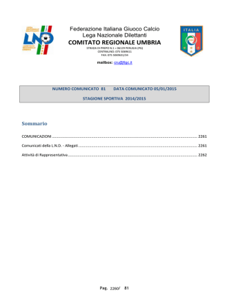 Attività di Rappresentativa - FIGC Comitato Regionale Umbria