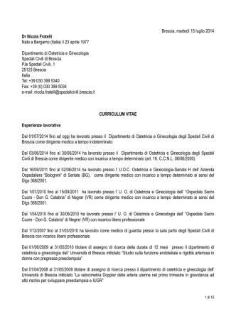 CV Nicola Fratelli - Spedali Civili di Brescia