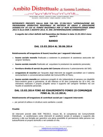 bando dgr 740/2013 - Ambito Distrettuale di Somma Lombardo