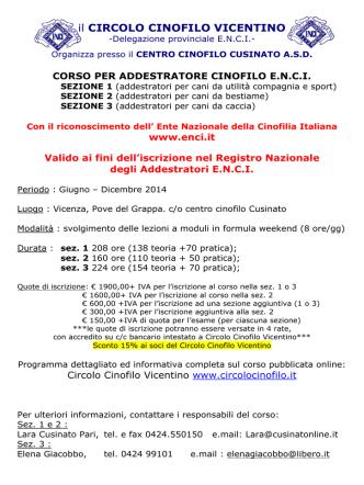 Corso per addestratore cinofilo E.N.C.I.