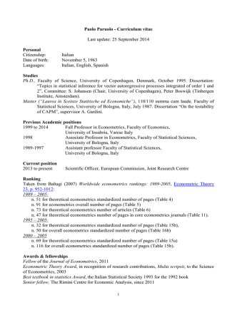 CV of Paolo Paruolo - European Commission