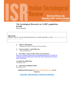 The Sociological Research on LGBT population in Italy