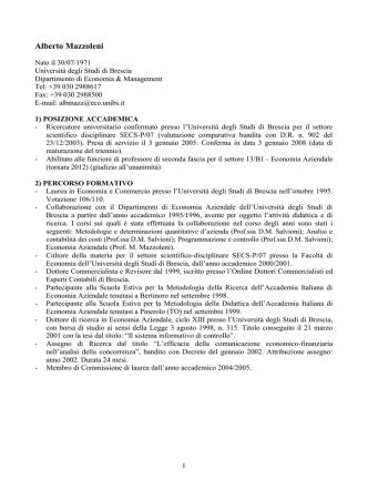 Curriculum Prof. Mazzoleni Alberto - Università degli Studi di Brescia