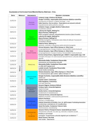 calendario attività didattiche master digital heritage – ii ed