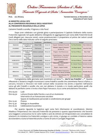 Circolare 007/IV/2014 - Ordine Francescano Secolare di Sicilia