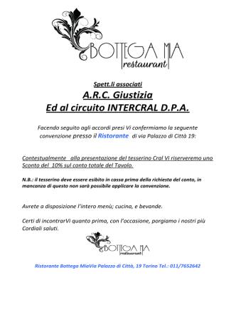 A.R.C. Giustizia Ed al circuito INTERCRAL D.P.A.