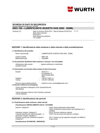0893 106 - LUBRIFICANTE WUERTH HHS 2000 500ML