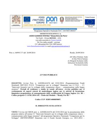 bando esp. madrelingua C1 - Liceo Classico Statale Gioacchino