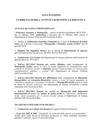 Curriculum - Università degli Studi di Bari