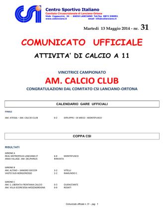 AM. CALCIO CLUB - CSI Lanciano