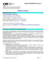 FOGLIO INFORMATIVO relativo a: INTERNET BANKING