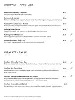antipasti – appetizer insalate – salad