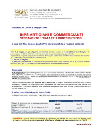 CRC 29_2014 Scadenza versamenti INPS artigiani e