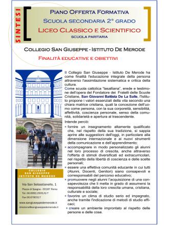 Brochure illustrativa dei Licei - Collegio San Giuseppe De Merode