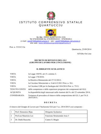 decreto di rinnovo del gli - Istituto Comprensivo Statale Quartucciu