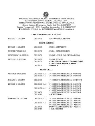 Calendario completo prove Esami di Stato Scuola Secondaria I