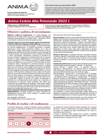 Anima Cedola Alto Potenziale 2022 I