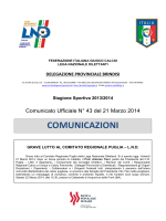Comunicato Ufficiale n° 43 del 21.03.2014