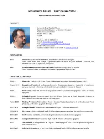 Alessandro Cassol - Università degli Studi di Milano
