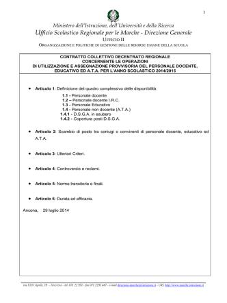 CCDR Utilizzazioni 2014/2015 - Ufficio Scolastico Regionale per le