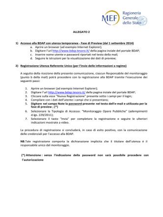 ALLEGATO 2 1) Accesso alla BDAP con utenza temporanea