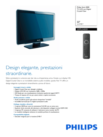 22PFL5403D/10 Philips TV LCD con Digital Crystal Clear