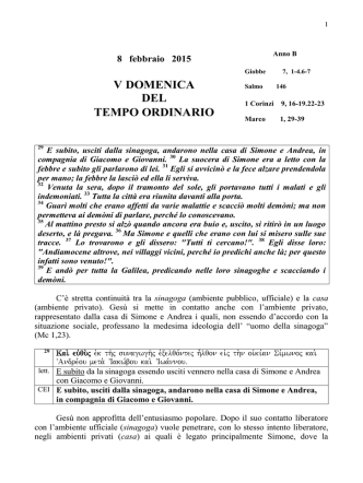8 febbraio 2015 V DOMENICA DEL TEMPO ORDINARIO