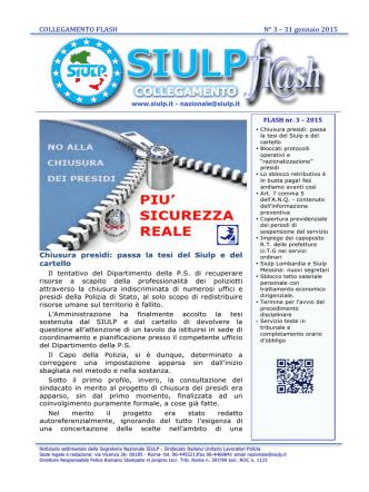 COLLEGAMENTO FLASH N° 3 – 31 gennaio 2015 Chiusura