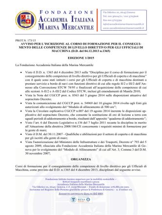 Avviso Macchina - Accademia Italiana Marina Mercantile