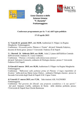 conferenze programmate per la v edizione dell`agon politikos