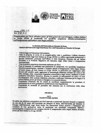 Bando Progetto Pilota Neolaureati - Università per Stranieri di Siena