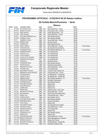 Campionato Regionale Master