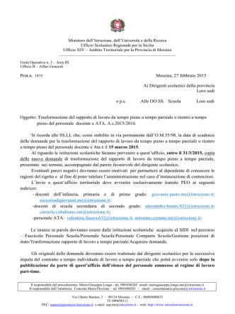 Circolare prot. n. 1875 del 27/02/2015
