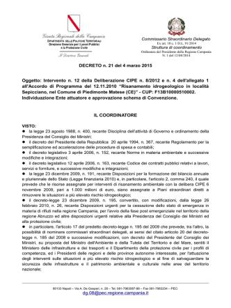 Decreto n. 21 del 4 marzo 2105 - Commissario Straordinario Delegato