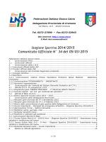 Comunicato Ufficiale N° 34 del 05/03/2015