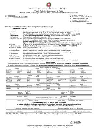Allievi/Allieve 2° grado - Ambito Territoriale per la provincia di Bari