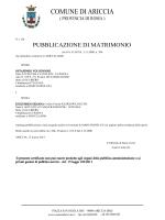 PUBBLICAZIONE DI MATRIMONIO