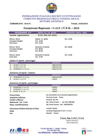 2^ fase programma orario Campionato Regionale 2015