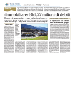 «Immobiliare» Btd, 27 milioni di debiti