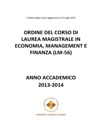anno accademico 2013-2014 - Università Europea di Roma