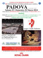 Programma Esposizione Internazionale Canina di Padova 2014