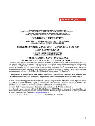 Banca di Bologna 26/05/2014 – 26/05/2017 Step Up ISIN