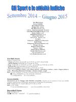 Sport e attività ludiche 2014-2015